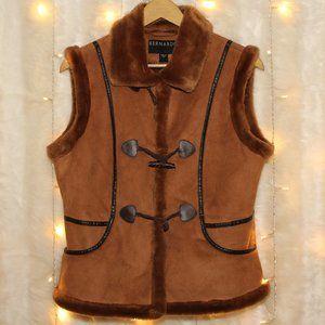 Bernardo Cozy Faux Fur Brown Suede Shearling Vest